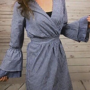 Blue and white pinstripe bell sleeve shirt dress